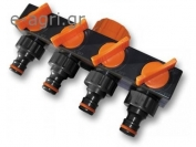 "4-WAY TAP ADAPTOR FEMALE WITH VALVES ERIETTA 1""-3/4"""